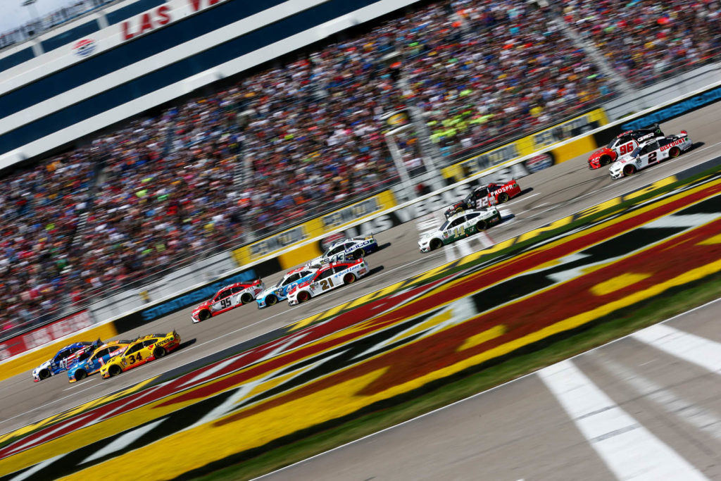 There was close racing throughout the Pennzoil 400 at Las Vegas Motor Speedway