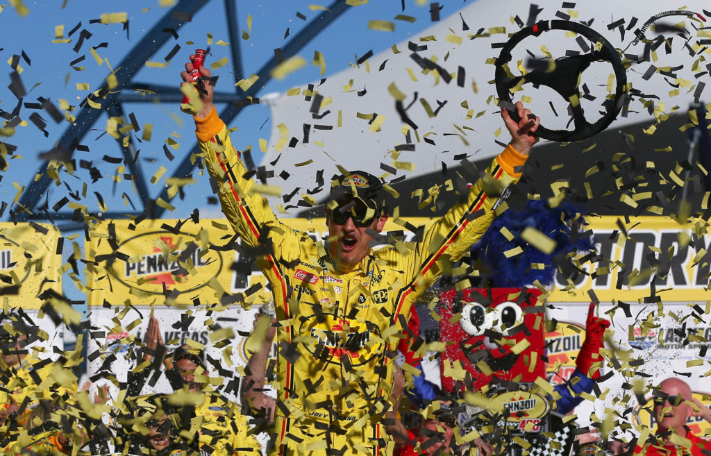 Joey Logano Celebrates in Victory Lane