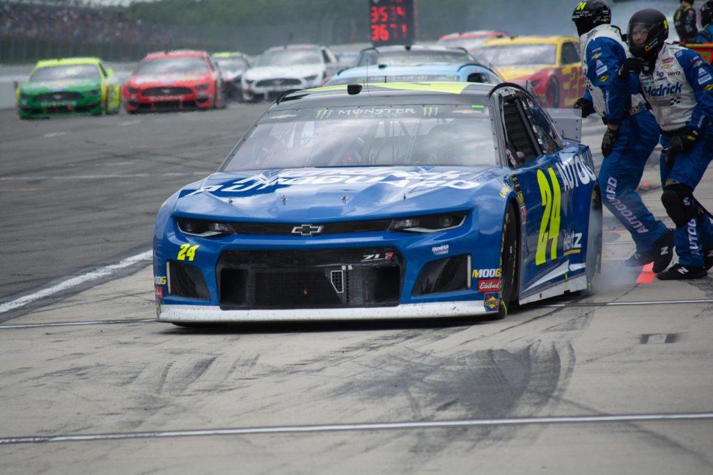 William Byron makes a pitstop during the Pocono 400 at Pocono Raceway