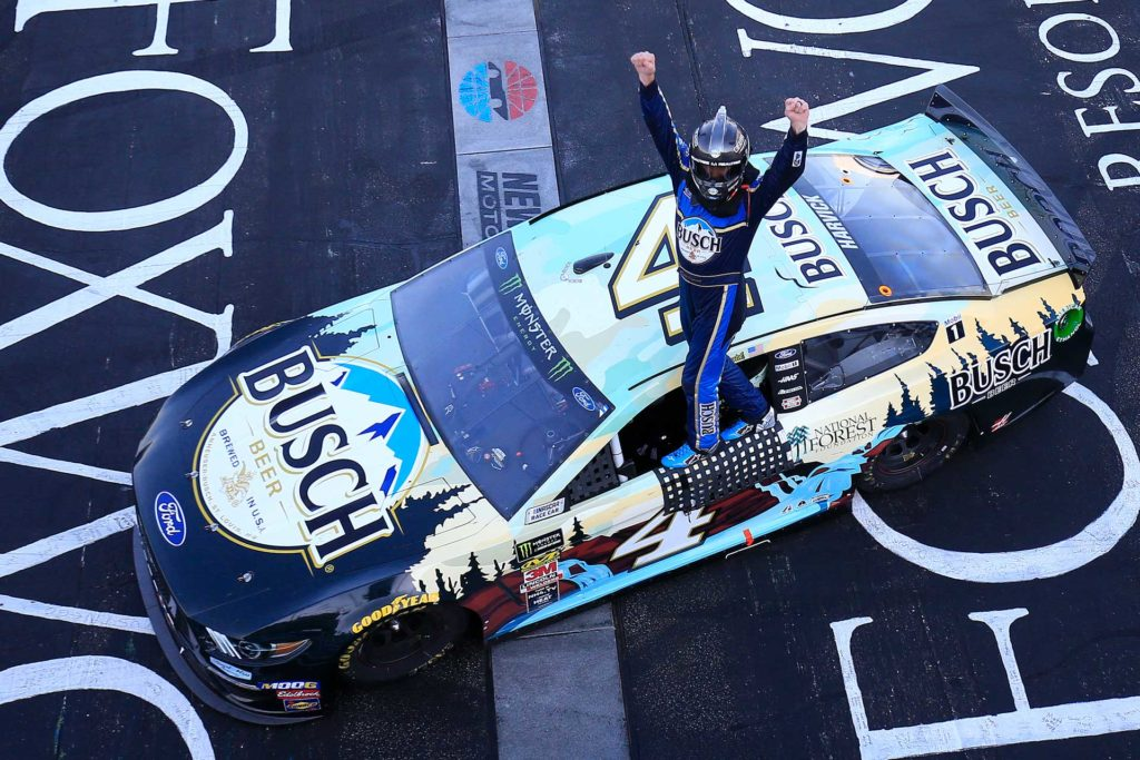 Kevin Harvick celebrates after winning the Foxwoods 301 at New Hampshire Motor Speedway