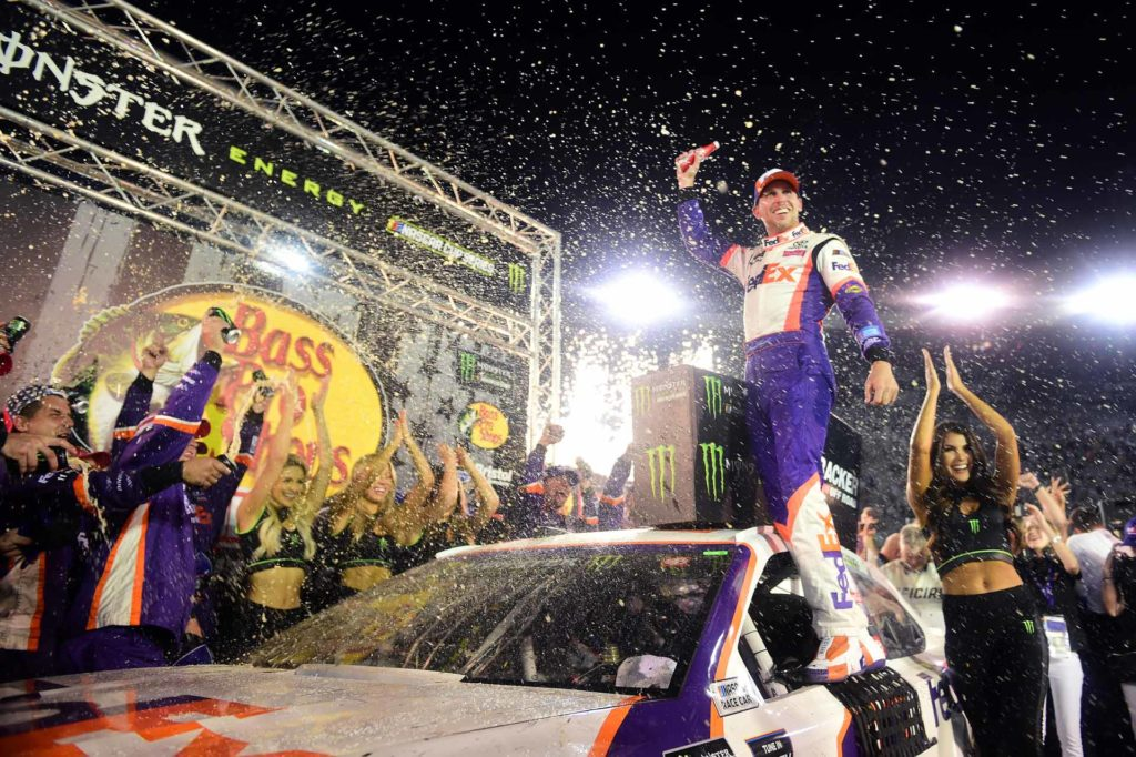 Denny Hamlin Celebrates in Victory Lane After Winning at Bristol
