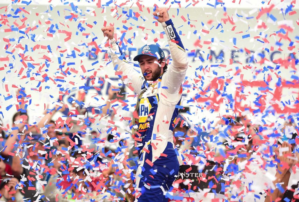 Chase Elliott celebrates in victory lane after winning the Bank of America ROVAL 400 in Charlotte