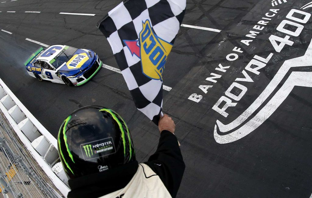 Chase Elliott takes the checkered flag to win at the ROVAL.