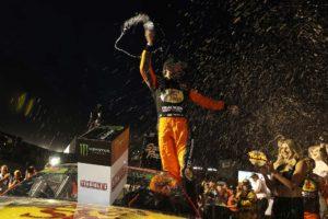 Martin Truex Jr. celebrates after winning the South Point 400