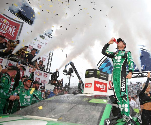 Kyle Larson celebrates in victory lane after winning the Drydene 400 at Dover International Speedway