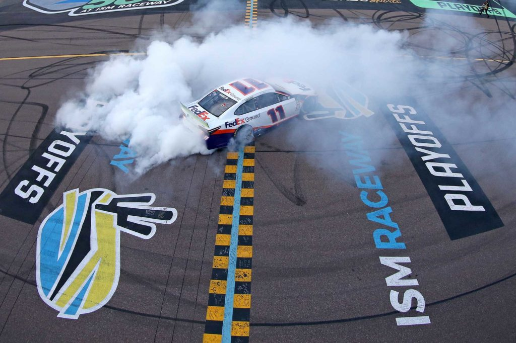 Denny Hamlin advances to the championship finale in Homestead after winning the Bluegreen Vacations 500 at ISM Raceway.