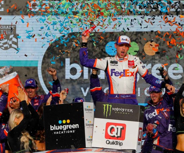 Denny Hamlin celebrates after winning the Bluegreen Vacations 500 at ISM Raceway
