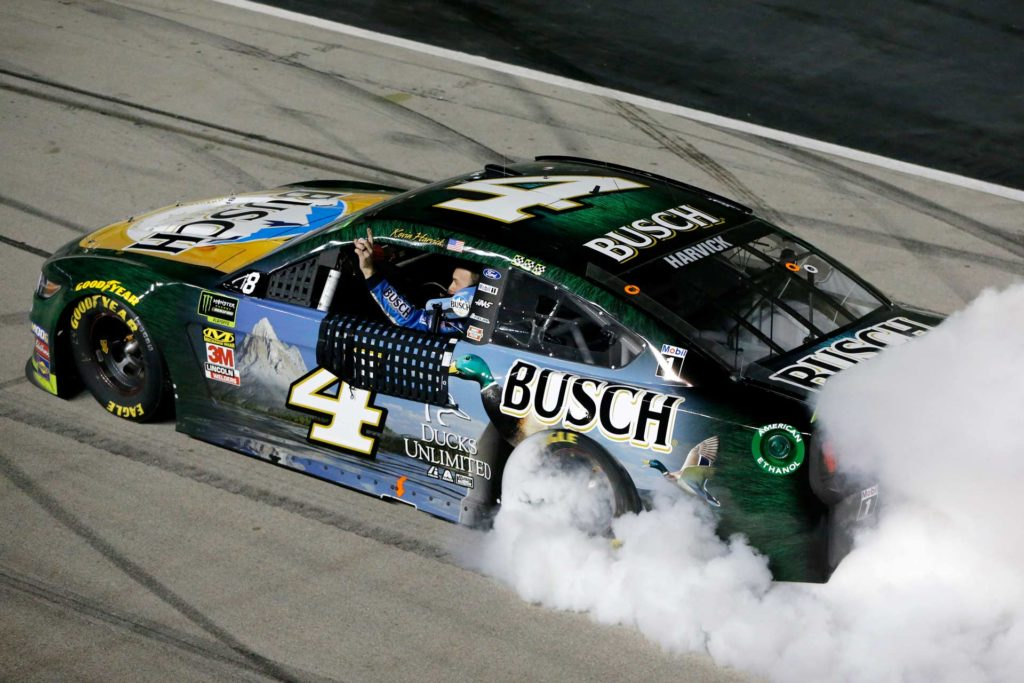 Kevin Harvick celebrates after winning the AAA Texas 500 at Texas Motor Speedway