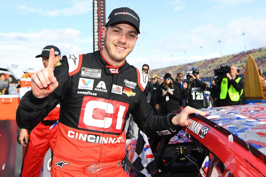 Alex Bowman wins his first race in 2020 at Auto Club Speedway.