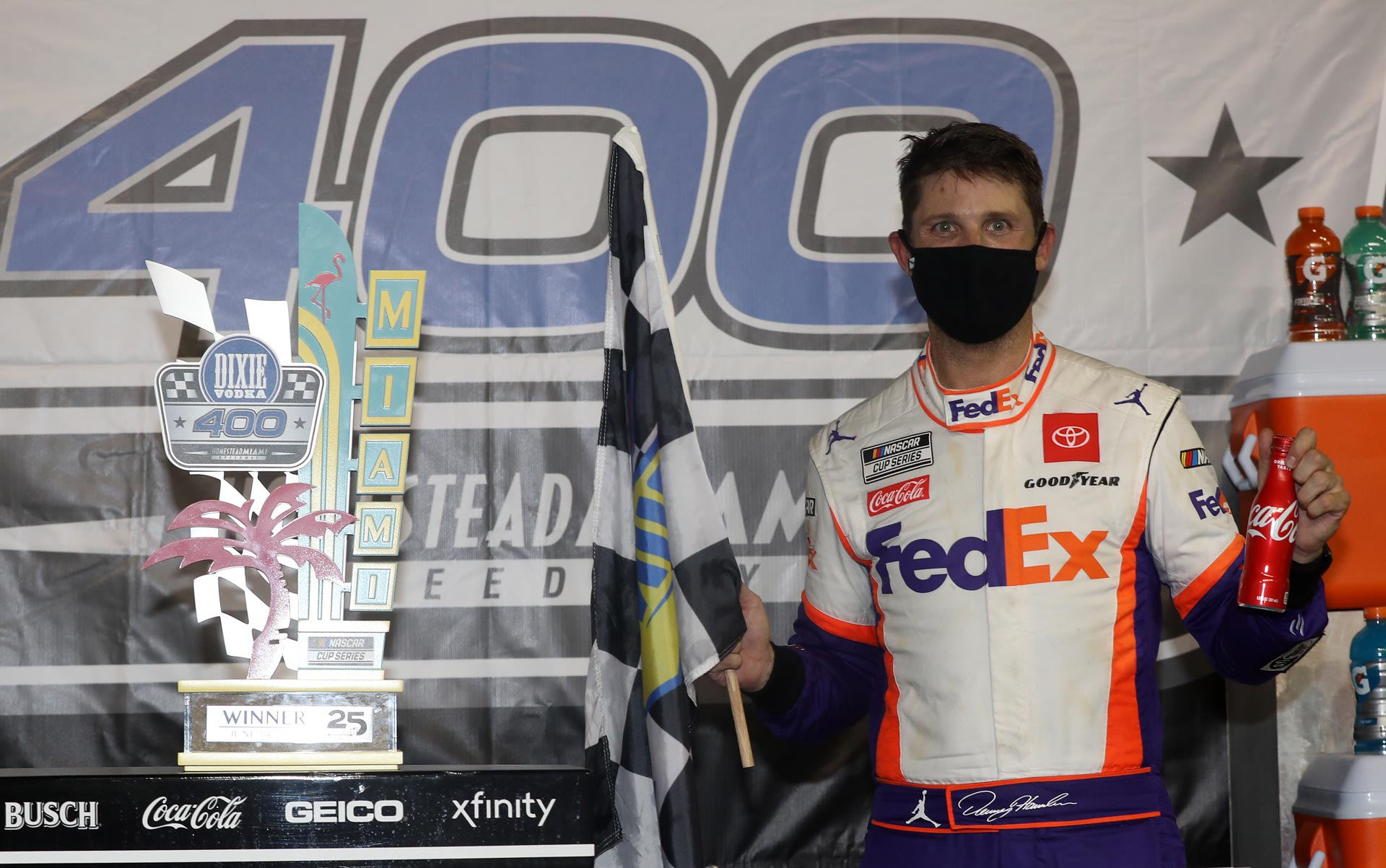 Denny Hamlin wins the Dixie Vodka 400 at Homestead-Miami Speedway