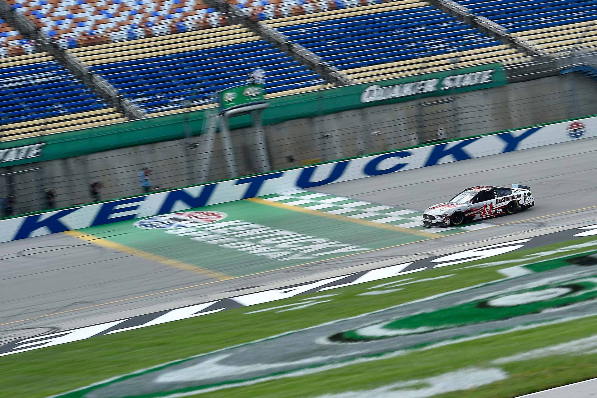 Cole Custer crosses the finish line to earn his first career win in the NASCAR Cup Series.