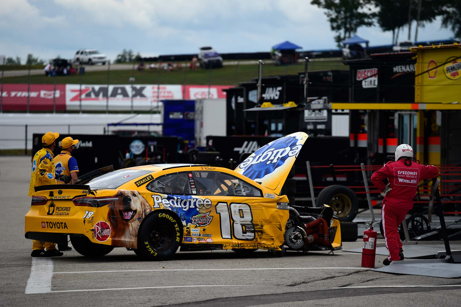 Kyle Busch crashed out of the Foxwoods Resort Casino 301 after only 15 laps on Sunday.